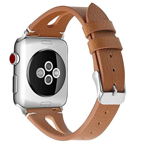 AISPORTS Compatible con Apple Watch Correa 40mm 38mm Cuero, Deportiva Hueca y Transpirable Pulsera con Hebilla Clásica de Metal Correa de Repuesto para Apple Watch SE/iWatch Series 6/5/4/3/2/1