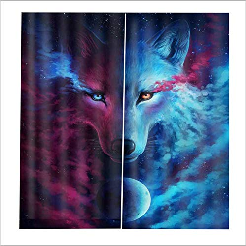 Voller Verdunkelungsvorhang Stoff Tier Wolf 3D Digitaldruck Verdunkelungsvorhang 263X213Cm