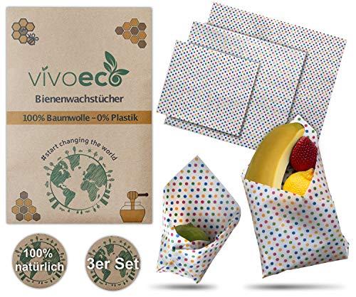 vivoeco BienenwachstüCher aus Baumwolle | antibakterielles Wachstuch in 3 Größen | Wiederverwendbare Frischhaltefolie | Wachspapier mit Anleitung