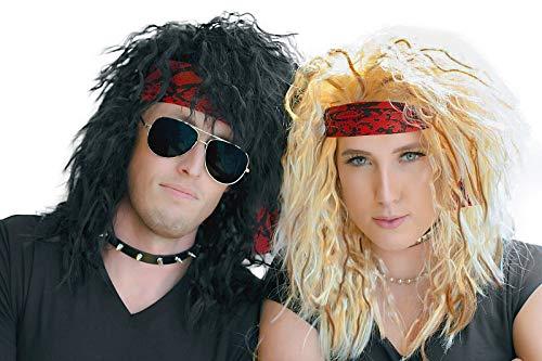 80s Rocker Halloween Costumes Wig - 2 Heavy Metal Couples Wigs For Men and Women