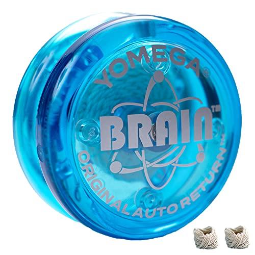 Yomega - The Original Yoyo with The Brain - Includes Auto Return Technology- Beginner Level One String Trick Yo Yo + Extra 2 Strings & 3 Month Warranty (Blue)