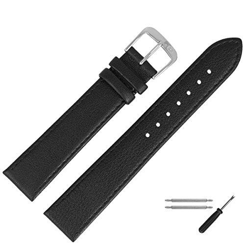 MARBURGER Uhrenarmband 22mm Leder Schwarz - Werkzeug Montage Set 7592210000120