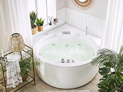 Whirlpool Badewanne Florenz mit 14 Massage Düsen + Heizung + Ozon Desinfektion + Beleuchtung / Licht + Wasserfall + Radio – Eckwanne Sprudelbad Jakuzzi indoor / innen günstig - 7