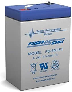 Powersonic PS-640F1 - 6 Volt/4.5 Amp Hour Sealed Lead Acid Battery with 0.187 Fast-on Connector
