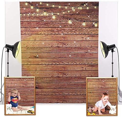 Zacro Fotografie Hintergrund, 1,5 * 2,1 m Hintergrund Holzboden mit Doppelseitigem Klebeband für Fotografie, Video und TV-Aufnahmen, Braun