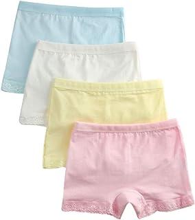 Algodón Braguitas Niña - Bragas de Seguridad Paquete de 4 Color Sólido Adornos de Encaje Ropa Interior Lindo Suave Shorty Tamaño 2-10 Años