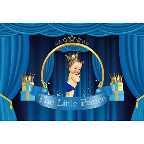 Cassisy 2,2x1,5m Vinilo Telon de Fondo Baby Shower Telón De Fondo Niño Principito Cortina Azul Corona Regalo Fondos para Fotografia Party bebé Recién Nacido Photo Studio Props Photo Booth