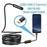Dylviw 5 Meter Rigid Cable USB C Endoscope Type C Borescope Inspection Camera 2.0 Megapixels HD Snake Camera for New Android Samsung Galaxy S8, S8 Plus, Google Pixel, Nexus 6p, Huawei V9