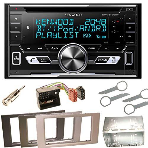 Kenwood DPX-5100BT Bluetooth USB MP3 Autoradio CD AOA2.0 Doppel Din Einbauset für Ford Focus C-Max Fiesta Transit, Farbe der Radioblende:Schwarz