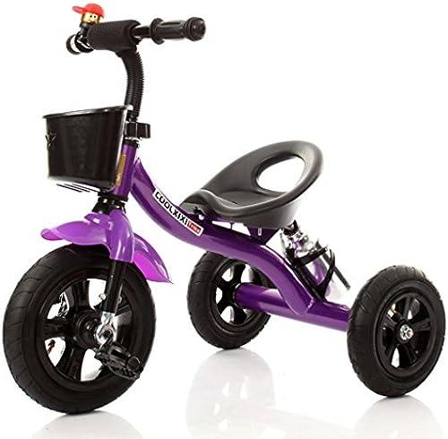 HAIZHEN Kinderwagen Kinder Dreirad Stahlrahmen Aufblasbares Rad Fahrrad 2-4 Jahre Alt Baby Spielzeugauto 71  48  58 cm Für Neugeborene (Farbe   Lila)