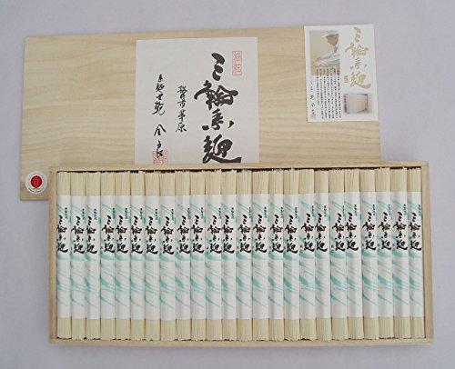 極上 手延べそうめん 三輪素麺 「極細」 木箱 のし付 1,200g 24束 奈良 三輪山麓にて製造