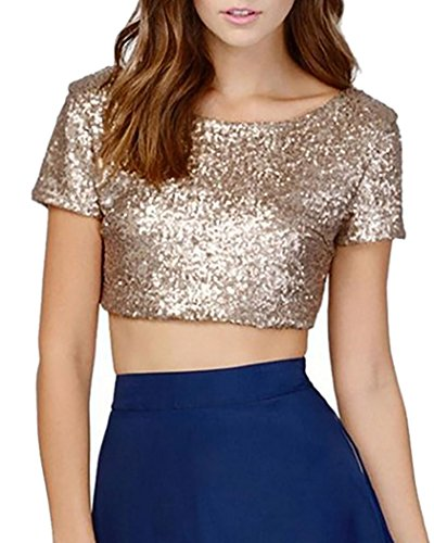 Donna Maglie Manica Corta Bling Magliette Paillettes T Shirt Bluse Camicetta Camicia Tops XS Oro