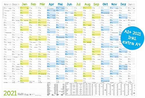 XXL Wandkalender 2021 größer als A1 (89 cm x 63 cm) | 15 Monate: Nov 2020 - Jan 2022 | gefalzter Wandplaner mit Ferien- und Feiertage-Übersicht | nachhaltig & klimaneutral