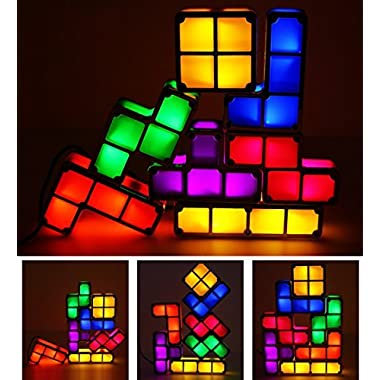 7 Colors Night Light 7 PCS Tetris Stackable Tangram Puzzle LED Induction Interlocking Desk Lamp 3D Toys Ideal Gift for Home and Office Decorations Easy Stacking up Magical Decorative Light (7 Colors)