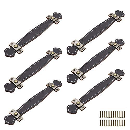 6 tiradores de piel retro para muebles de 16,5 cm y 19,05 cm de hardware para muebles, mango de cuero para cajón, gabinete/maleta, correa de repuesto