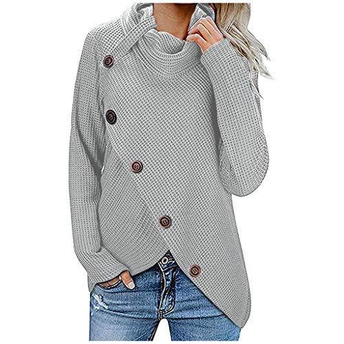 Holzkary - Suéter de punto para mujer, diseño de tortuga, cuello redondo, dobladillo asimétrico, Gris, L