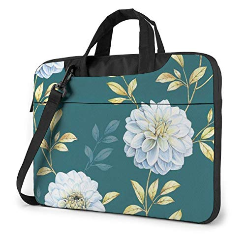 Funda para portátil con Flores Blancas, Bolsa de Asas para Ordenador de 15,6 Pulgadas, Bandolera Tipo Bandolera para Viajes de Negocios