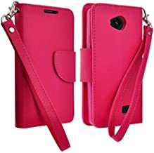 LG Tribute Case, Dual Layer Diamond Hybrid Skin Cover for LG Tribute LS660 F60 Includes Handstrap (Mobile,Sprint Prepaid) (HOT PINK WALLET POUCH)