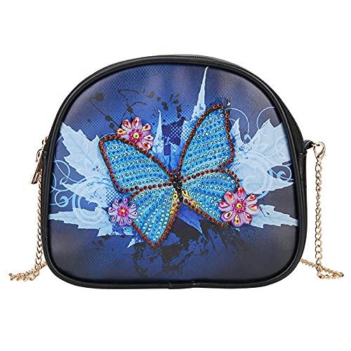 (patrón de mariposa azul) DIY pintura de diamante creativo monedero, bolsa de almacenamiento cosmética, bolsa de mano de diamantes en forma especial para mujer