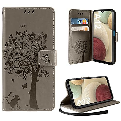 AROYI Hülle Kompatibel mit Samsung Galaxy A12 / M12 Lederhülle, PU Leder Flip Tasche Handyhülle [Kartenfach] [Magnetverschluss] Standfunktion Brieftasche Handy Schutzhülle (Grau)