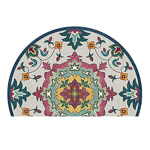 HOMEJYMADE Alfombra de puerta semicírculo, geométrica media redonda, alfombra de puerta interior y exterior para entrada de patio jardín (7,60 x 90 cm)