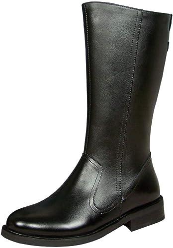 GanSouy De Los herren Cuero Auténtico Caballero Stiefel Altas Stiefel del Ejército para El Trabajo Senderismo Patrulla Stiefel Stiefel De Vaquero Utilidad Calzado