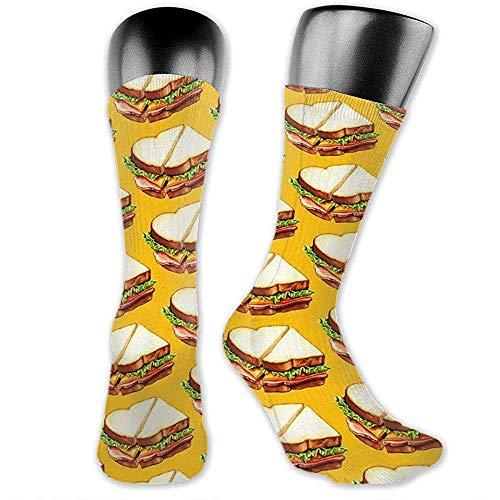 NA Herren/Damen Socken 40cm, Schinken Sandwich Muster Unisex Mode Atmungsaktiv Athletisch Laufen Crew Socken Lässig Reisestrumpf