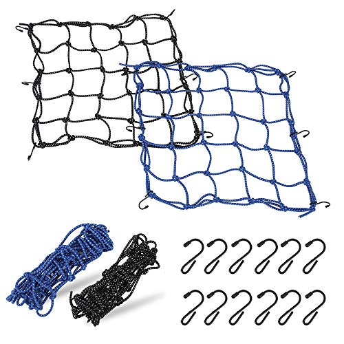 "2 Pack of Motorcycle Cargo Net 157"" x 157""Bungee Cord Cargo Net Stretches to 40"" x 40""Luggage Bungee Net with 12 Iron Hooks Bungee Cord Mesh for Motorcycle Bike Paddle board Quad Canoe ATV"