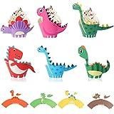 Gxhong Dinosauro Cupcake Topper e Wrapper 30 Pezzi Decorazioni Pirottini per Cupcake, per Muffin Cupcake Articoli per Feste di Compleanno per Bambini