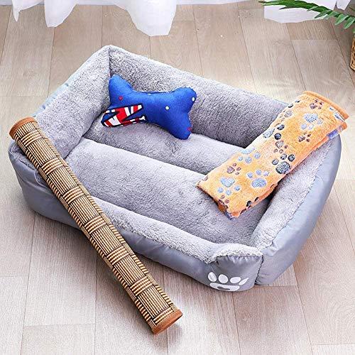 Hondenbed, wasbaar, comfortabele bank voor huisdieren, duurzaam nestkussen voor huisdieren, antislip, ligstoel en ademend bed voor rupsen, 4-delige set (kleur: bruin, maat: XL (95 x 75 x 18 cm), XL(95x75x18CM), grijs.