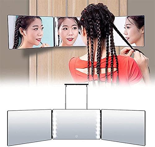 Fisecnoo Espejo de maquillaje con 3 luces LED plegables con interruptor táctil de 360 grados, espejo cosmético ajustable para corte de pelo y corte de pelo (color: sin luz LED)