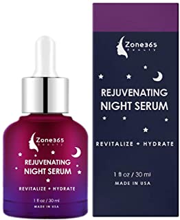 ZONE - 365 Face Serum for All Skin Types; Reverse Aging While you Sleep; with vitamin E, Hyaluronic Acid, Witch Hazel; 1 f...