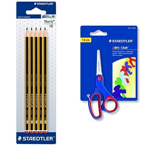 Staedtler Noris - Pack lapiz Noris HB (5 unidades) + Tijeras para niños Noris club