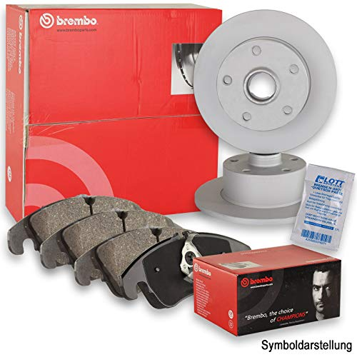 Original BREMBO Bremsscheiben + BREMBO Bremsbeläge Bremsbelagsatz Set hinten Hinterachse