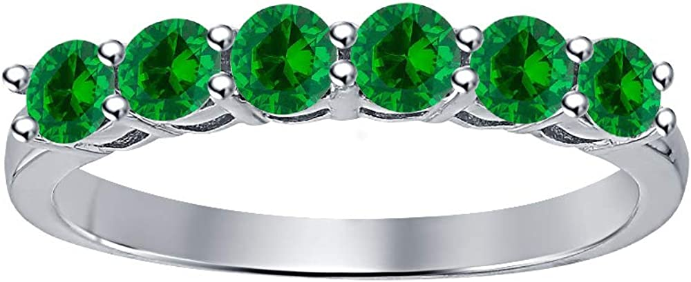 Manufacturer OFFicial shop SVC-JEWELS Round Cut Green Emerald 10K Gold White Over H 6 Overseas parallel import regular item Stone