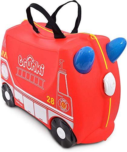 Trunki Valise Enfant à Roulette à Chevaucher et Bagage Cabine - Vehicules: Frank le Camion de Pompier (Rouge)