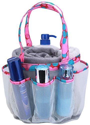 Borsa da doccia portatile in rete, 8 cestini, per bagno, università, dormitorio, grande borsa per doccia per campeggio e palestra (White)