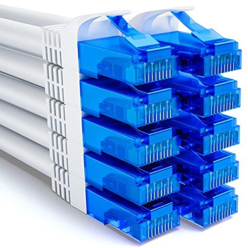 deleyCON 10x 0,25m CAT6 Netzwerkkabel Set - U-UTP RJ45 CAT-6 LAN Kabel Patchkabel Ethernetkabel DSL Switch Router Modem Repeater Patchpanel - Weiß