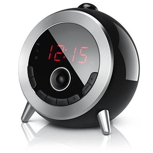 Brandson - Despertador con Radio FM Retro Despertador-proyector Radio con Reloj Despertador Digital - Proyección de la Hora - Radio FM - Elegante diseño Redondo - Giratorio 180 Grado - Negro