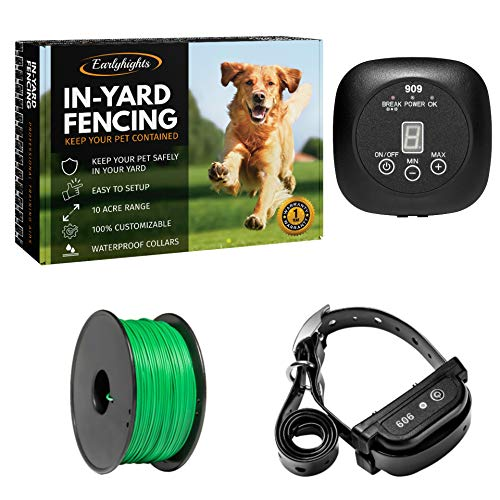Earlyhights Underground Electric Outdoor Dog Containment Fence System,5 Acre Range 500 Ft In Ground Wire