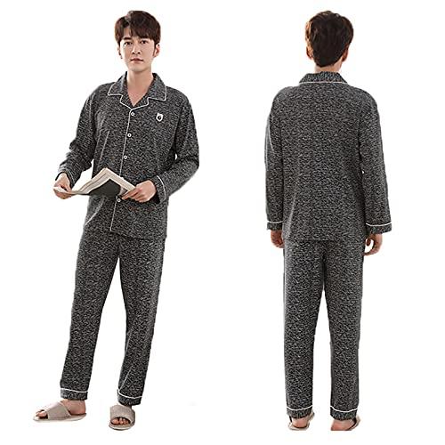 Schlafanzug Herren Lang, Schlafanzug Langarm Klassisch Warm Zweiteiliger Shirt Knopf Und Pyjamahose Mit V-Ausschnitt Und Knopfleiste-Design