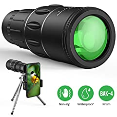 【Clear & Bright】 16x magnification and 52mm objective lens diameter monocular has great field of view, the HD monocular telescope with BAK4 prism provides a clear and bright image, enjoy the beauty of the distance. 【Easy to Use】 Adopting Dual focus r...