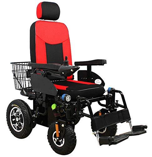 HFJKD Elektrischer Rollstuhl Automatischer intelligenter Hochleistungs-komfortabler Rollstuhl-Elektrorollstuhl mit Verstellbarer Rückenlehne für Erwachsene 4-Rad-Offroad-Roller, 250 W *