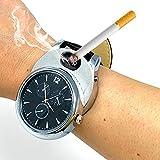 ArcWatch Men's Stylish Flameless Windproof USB Cigarette Lighter/Watch | Tesla Arc Ignition | Quartz Timepiece (Black Leather Strap, Silver Bezel)