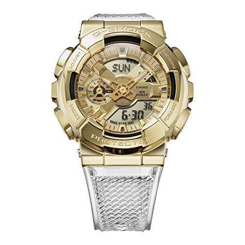 Reloj Casio G-Shock GM-110SG-9AER - Reloj con Caja de Acero Inoxidable Chapado en Dorado, con Correa de Resina Blanca