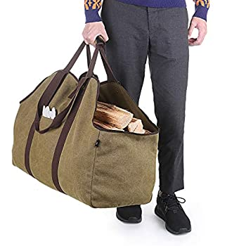 BONTHEE Extra Large Waterproof Firewood Log Carrier Canvas Firewood Holder Indoor with Shoulder Strap and Top Handles Contained Weight-Relief Pad for Easy Carry