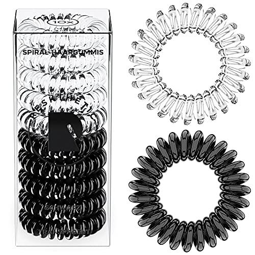 Reskthetic® - hochwertige Spiral Haargummi (10 Stück), schonend zum Haar, umweltfreundlich, (Telefonkabel, Zopfgummis) für Mädchen & Frauen/Damen