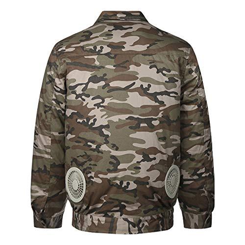 Sidiou Group Klimaanlage Kleidung Kühlung Klimatisierte Lüfterjacke Ventilator Jacke für Outdoor Hochtemperatur Kühljacken kühlende Kleidung Arbeitsjacke Jagd Angeljacke Herren (Tarnung, XX-Large)