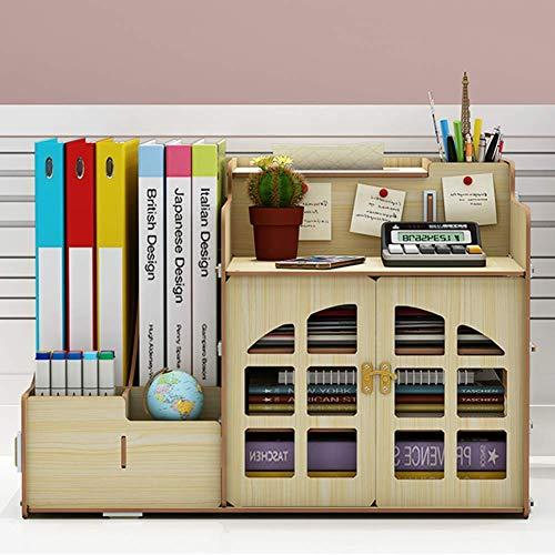 Elise, magazijnrek, multifunctionele kantoorruimte, houten doos + handdoeken + penhouder, documenten voor deur, huis, kantoor, bibliotheek, beige