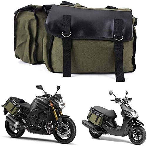 MOOHOP Motorbike Bag Waterproof Canvas + Leather,Large Capacity Luggage Tail Package Saddle Bags Storage Tool Pouch Left Right(Armygreen),Motorcycle Side Bag Tool Bag Ideal For Long Distance Riding